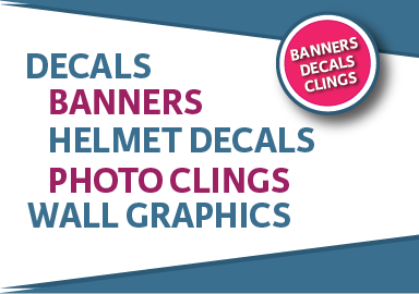 helmet decals, banners, magnets, wall decor