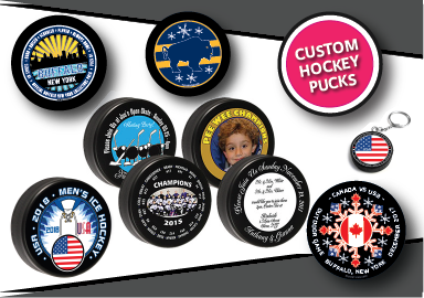 custom printed hockey pucks and official game pucks
