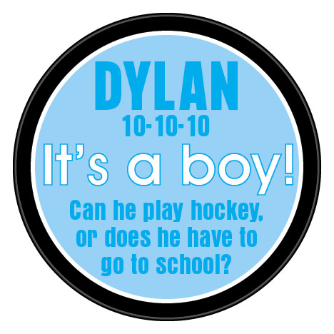 hockey baby announcement hockey puck