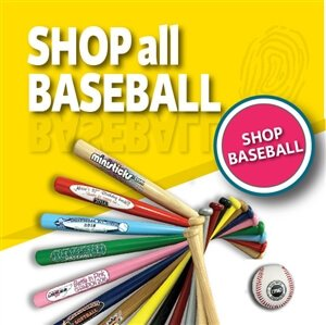 Custom printed mini baseball bats, personalized and engraved wood bats and bulk baseball bats.