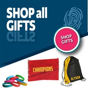 You'll find team gifts, team towels, cinch bags and tee shirts that can be personalized.